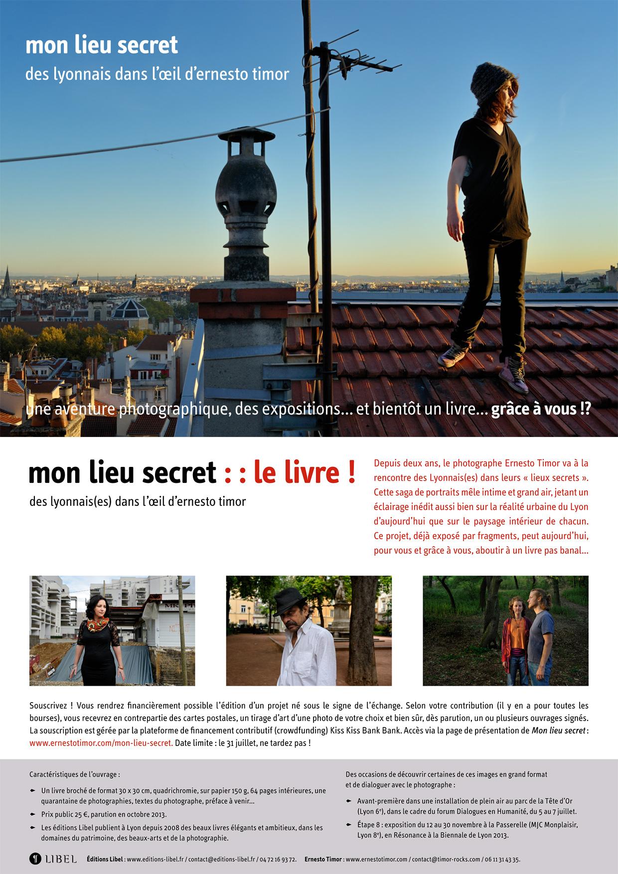 Mon lieu secret, des Lyonnais dans l'œil d'Ernesto Timor : le livre !